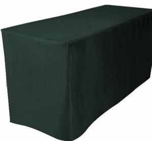 8 Ft Fitted Polyester Table Cover Trade Show Booth Dj Tablecloth Hunter Green