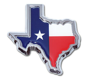 Texas Lone Star State Flag Chrome Metal Auto Emblem Texas Shape With Color