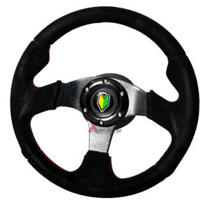 Black Red Stitch Dish Suede Racing Steering Wheel 320mm Horn 14in Jdm Badge