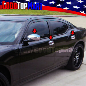 For Dodge Charger 2006 2008 2009 2010 Chrome Covers Set Full Mirrors 4 Doors W o