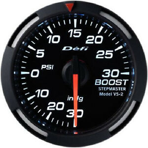 Defi Racer Turbo Boost Gauge 30inhg To 30psi 52mm W White Led Df06503 New