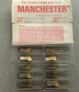Manchester 507 148 36 M40 Grooving Lathe Carbide Inserts Gold 10 Pcs New