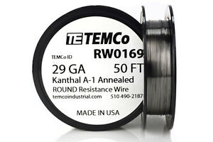 Temco Kanthal A1 Wire 29 Gauge 50 Ft Resistance Awg A 1 Ga