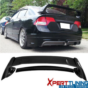 Fits 06 11 Honda Civic Sedan Mugen Trunk Spoiler Painted Glossy Black