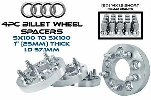 4 Audi Volkswagen 5x100 To 5x100 1 25 Mm Wheel Spacers 57 1 W 14x1 5 Lug Bolts