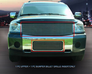 Polished Billet Grille Grill Combo For Nissan Titan Armada 2004 2007