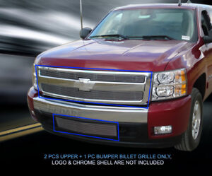 Fits 2007 2013 Chevy Silverado 1500 Billet Grille Grill Combo