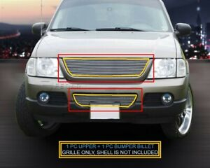 Fits 2002 2005 Ford Explorer Billet Grille Grill Combo 2pcs Logo Cover