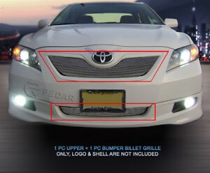 Fits 2007 2009 Toyota Camry Polished Billet Grille Front Grill Combo 2pc