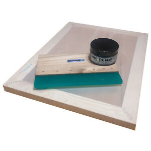 Value Screen Printing Kit A4 Frame With 43t Mesh 8 Wooden Squeegee 100ml Ink