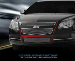 Fits 2008 2012 Chevy Malibu Polished Billet Grille Front Combo Grill