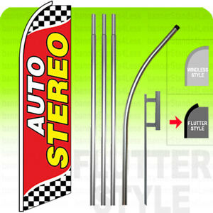 Auto Stereo Swooper Flag Kit Feather Flutter Banner Sign 15 Tall Checkered Rb