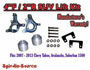 2007 2013 Chevy Suburban Tahoe Avalanche 1500 4 2 Lift Kit Spindle 07 13