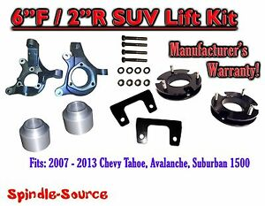 2007 2013 Chevy Suburban Tahoe Avalanche 1500 6 2 Lift Kit Spindle 07 13