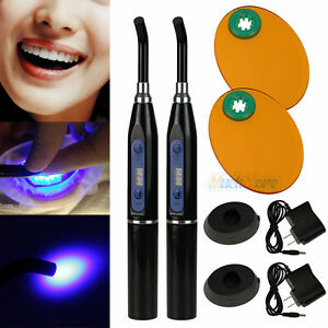 2x New Dental 10w Wireless Cordless Led Curing Light Lamp 2000mw With Adapter Us