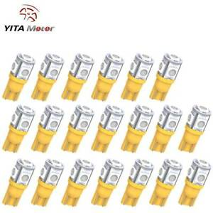 Yitamotor Yellow T10 168 Wedge Led Dome Trunk License Interior Light Bulb 20pcs