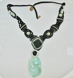 20 Old Chinese Necklace W Carved Green White Jadeite Jade Pendant Beads