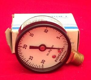 Ashcroft 30 In Hg Vacuum Pressure Gauge 1 4 Npt Brass New In Box