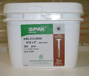 Spax Xwl Log Timber Lag Screws bolts 8 Washer Head 250 Per Bucket