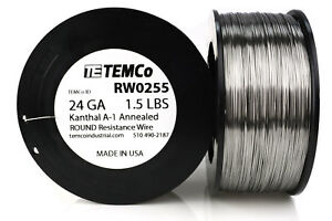 Temco Kanthal A1 Wire 24 Gauge 1 5 Lb 1527 Ft Resistance Awg A 1 Ga