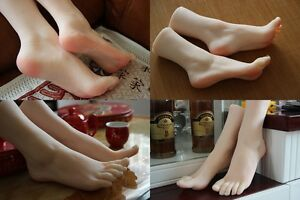1 Pair Silicone Lifelike Female Mannequin Foot Display Shoes And Socks Size35 36