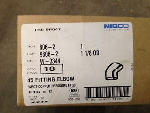 10 Nibco 606 2 Copper 45 Degree Elbow Pressure Fittings 1 X 1 1 8 Od