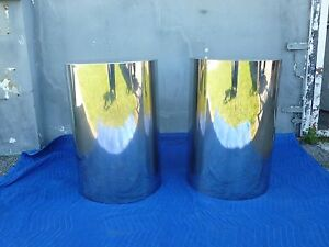 Pair Of Mod Space Age 70 S Custom Made Chrome Cylinder Drum Tables Like Pace
