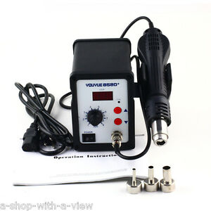 Hot Air Gun Rework Station Smd Solder Soldering Digital 3 Nozzles New Heat Gun