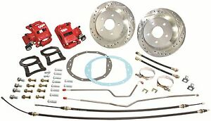 1955 56 57 Chevy Belair 150 210 12 Rear Disc Brake Conversion Kit Red Calipers