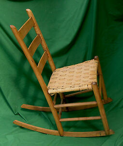 Pickuponly Late 1800s Mule Ear Ladder Back Sewing Rocker Chair