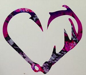 Antler Fishing Hook Heart Truck Decal 5 Camo Girl Hunting Muddy Outdoor Country