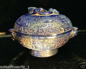 Antique Chinese Lapis Lazuli Stone Dragon Pot W Lid Raised Carving Vase 117