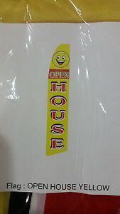 Open House Feather Flag Yellow red black 12 Tall