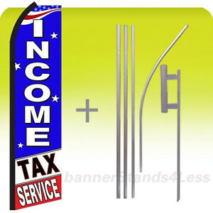 Income Tax Service Feather Flutter Swooper Tall Banner Sign Flag 15 Kit Bz