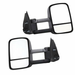 Pair For 1999 07 Silverado Sierra Manual Extend Towing Telescoping Side Mirrors