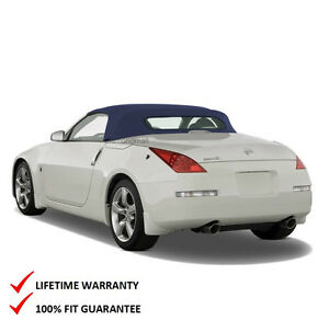 Fits Nissan 350z Convertible Soft Top With Heated Glass Window Blue Twill