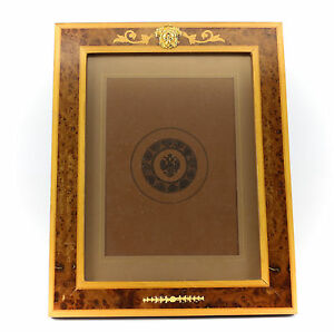Vintage Italian Marquetry Photo Frame W Gold Plated Sterling Silver Accents