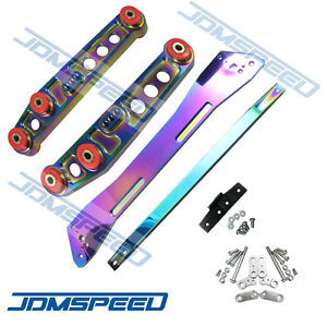 Neo Chrome Rear Lower Control Arm Subframe Brace Tie Bar For Civic 92 95 Eg