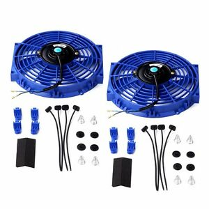 2x 10 Universal Slim Fan Push Pull Electric Radiator Cooling 12v Mount Kit Blue