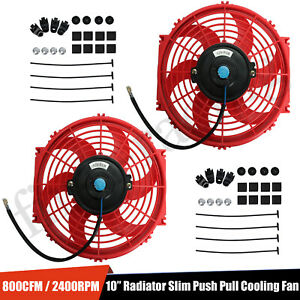 2x 10 Slim Fan Push Pull Electric Radiator Cooling 12v Mount Universal Kit Red