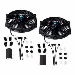 2x 10 Universal Slim Fan Push Pull Electric Radiator Cooling 12v 80w 800cfm