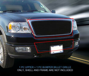 Fits 2004 2005 Ford F 150 Black Billet Grille Front Combo Grill Honeycomb Style