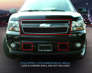 Fits 2007 2014 Chevy Tahoe Avalanche Suburban Black Billet Grille Grill Combo