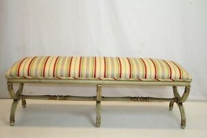 Hollywood Regency Neoclassical Hand Painted X Base Window Hall Bench Circa 1920