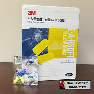 3m E a r Yellow Neon Disposable Earplugs Corded 311 1250 Nrr 33 200 Pair Box
