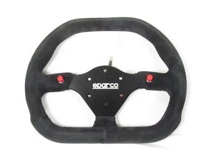Sparco P310 Steering Wheel 310mm Black Suede Flat Dish W thumb Horn Buttons New