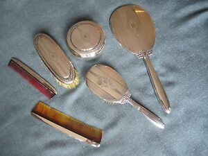Wallace Sterling Silver 7 Piece Vanity Dresser Set With Mirror Hairbrush Etc