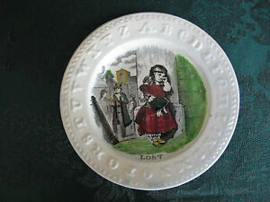 Abc Staffordshire Polychrome Child S Plate 1800s Victorian Lost Girl 4366