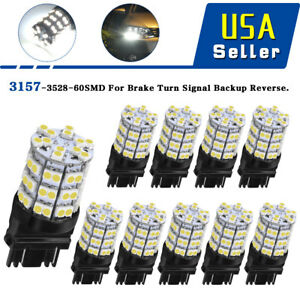 10 Pcs White 3157 3057 60 smd Led Bulbs For Backup Reverse Tail Brake Parking