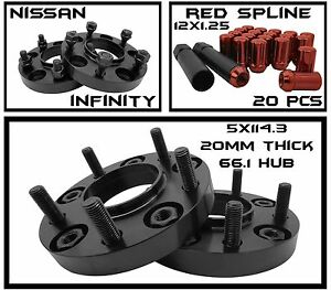 20 Red Spline 12x1 25 Lug Nuts W Keys 2 20mm Hubcentric 5x4 5 Wheel Spacers